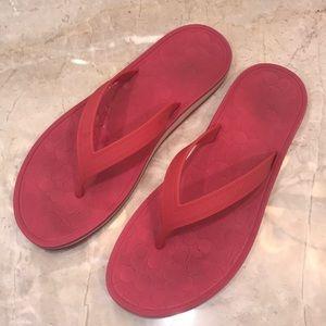 COACH pink flip flop size 9